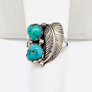 Estate Vtg Navajo Sterling Signed Turquoise Ring